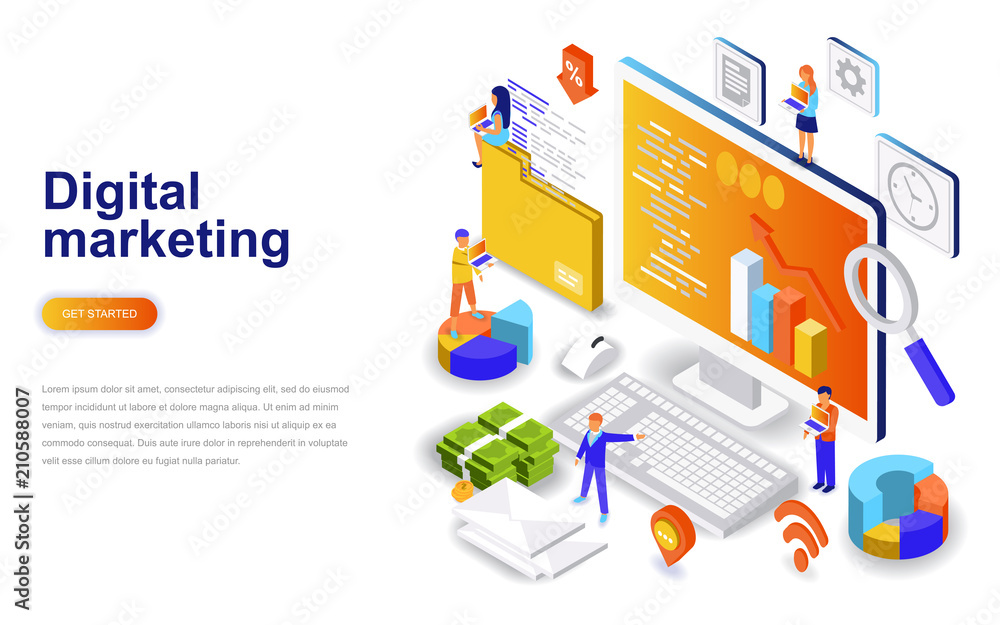 Fototapeta Digital marketing modern flat design isometric concept. Advertising and people concept. Landing page template. Conceptual isometric vector illustration for web and graphic design.