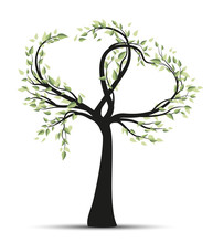 Vector Illustration Tree With Branches In Heart Shape On White Background