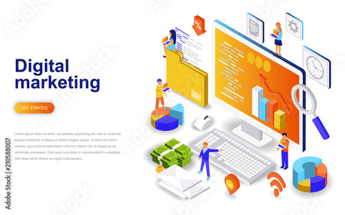 Fotografía  Digital marketing modern flat design isometric concept