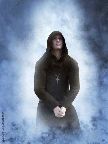 Photo 3D rendering of a kneeling christian monk praying.