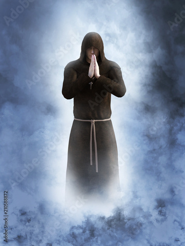 3D rendering of a christian monk praying. Fototapet