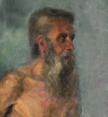 Fototapeta oil painting, portrait, handmade