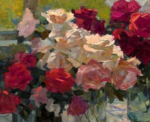 Panel Szklany Podświetlane Kwiaty oil painting, still life
