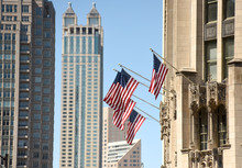 American Flag On A Building In...
