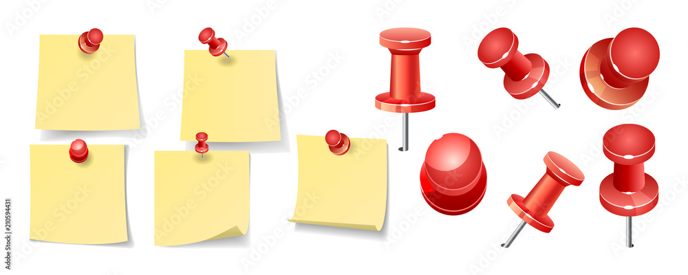Fototapeta Collection of various yellow note papers with curled corner, pinned red pushbutton, ready for your message. Vector illustration. Front view. Top view. Close up.
