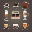 Coffee set. Espresso, americano, hot chocolate, frappe, latte, flat white, cappuchino, caramel macchiato. Cafe menu Vector illustration