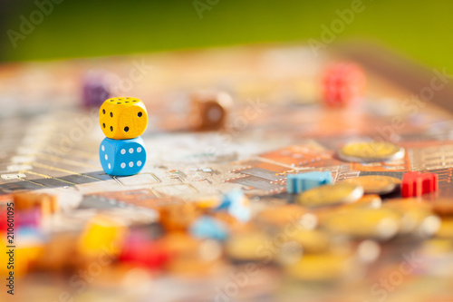 Fotografering Close up: dices at the table with Board game.