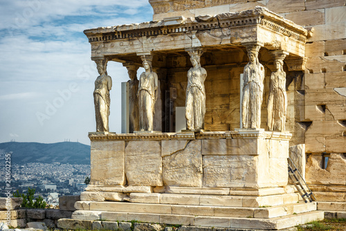 Foto op Canvas Athene Caryatid Porch of Erechtheion on the Acropolis of Athens