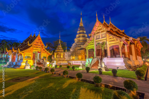 In de dag Bedehuis Wat Phra Sing Temple at Chiang Mai Province, Thailand