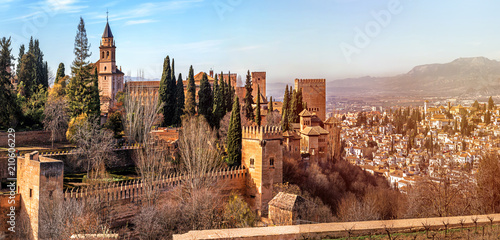 Panoramic View of Granada Palace and fortress complex Alhambra