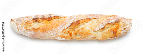 Photo single fresh baked baguette isolated on white background