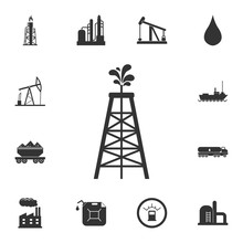 Oil Derrick Icon. Simple Element Illustration. Oil Derrick Symbol Design From Petrol Collection Set. Can Be Used For Web And Mobile