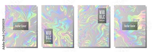 Fotografía  Holographic paper magic foil marble vector pattern