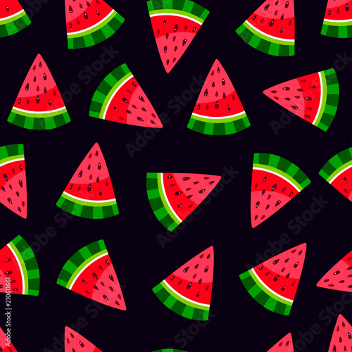 Cotton fabric watermelon seamless pattern