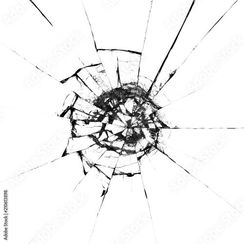 Valokuva  Broken glass craked isolated on white background ,hi resolution photo art abstra