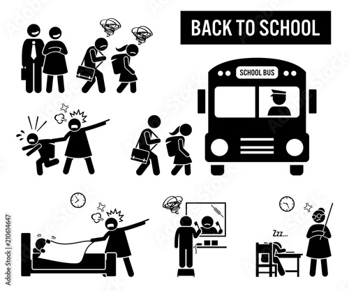 Back to school  Stick figure pictogram depicts school