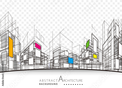 Architecture building perspective lines, modern urban architecture abstract background Fototapete
