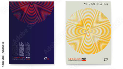 Tela Set of posters with simple shape in bauhaus style