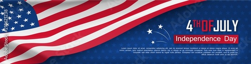 Fourth of July felicitation greeting card. Independence day celebration banner. USA country national event. Waving american flag on blue background. United States of America federal patriotic holiday