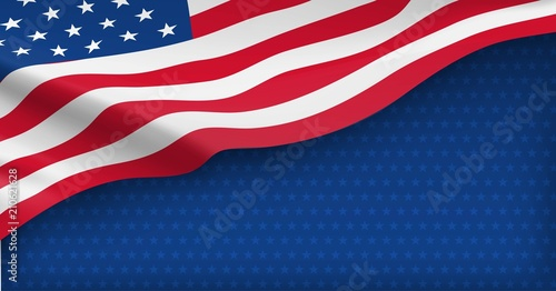 Foto American nation banner with national flag and space for text