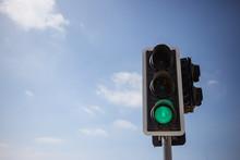 Green Traffic Light.  Blue Sky...