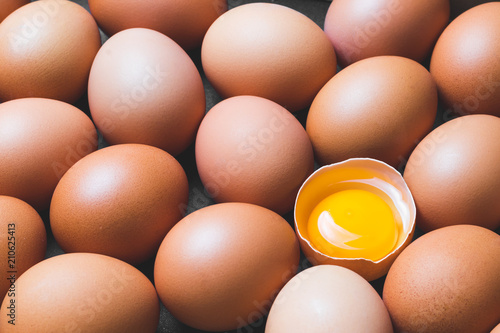 Chicken eggs and egg yolk,top view.