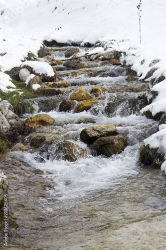 Poster Rivier mountain river and snow in winter scene