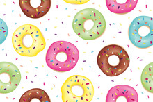 Donut. Pattern Of Sweet Colorful Donuts. Hand Drawn Design Seamless Pattern Of Donuts. Dessert, Pastry, Donuts Design For Menu, Advertising, Poster, Banner Of Cafe, Bakery, Vector Illustration