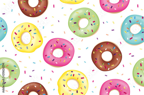 fototapeta na ścianę Donut. Pattern of sweet colorful donuts. Hand drawn design seamless pattern of donuts. Dessert, pastry, donuts design for menu, advertising, poster, banner of cafe, bakery, Vector Illustration