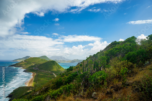 Landscape view of the Caribbean Sea and Atlantic Ocean looking south of St Kitts island from the top of Timothy Hill