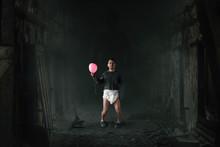 Funny Freak Man In Diaper Walks In Abandoned House