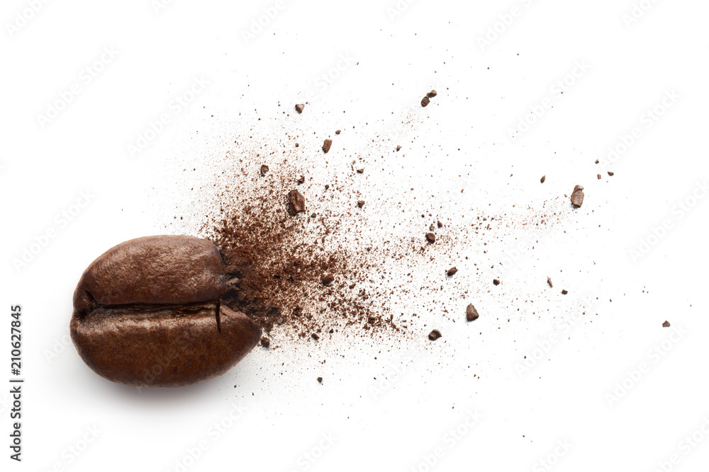 Coffee powder bursting out from coffee bean