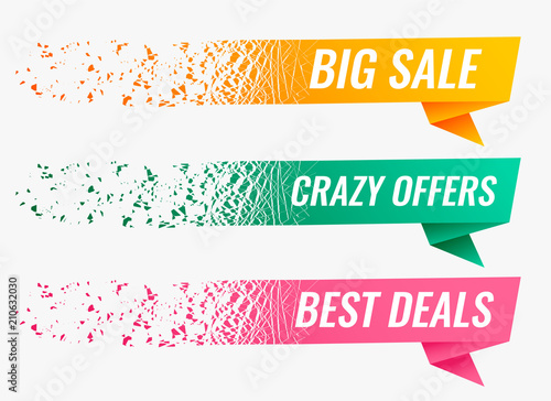 Fotografía  abstract particle style origami sale banner set
