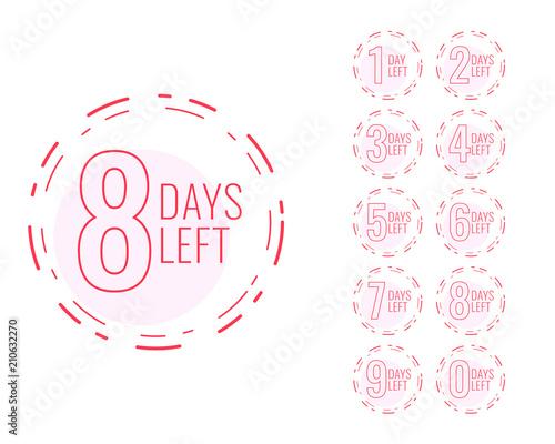 number of days left symbol in minimal design Wall mural