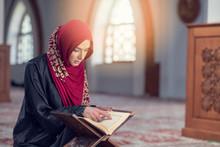 Muslim Woman Reading Koran Or ...