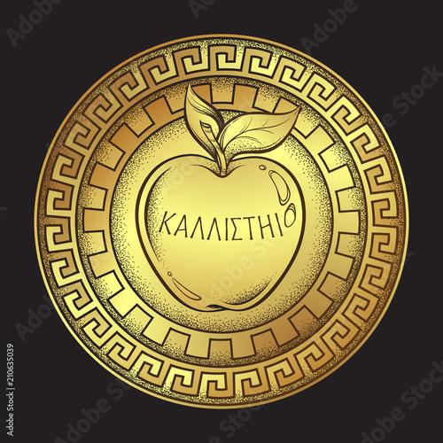 Vászonkép Golden apple of discord, hellenistic mythology, gift to a goddesses