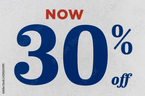 Photo  Sign saying Now 30% Off