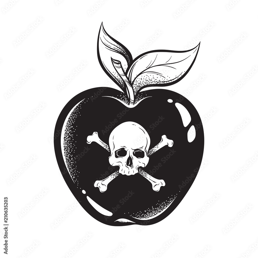 factory authentic 88ec3 16517 Poison apple line art and dot work hand drawn vector ...