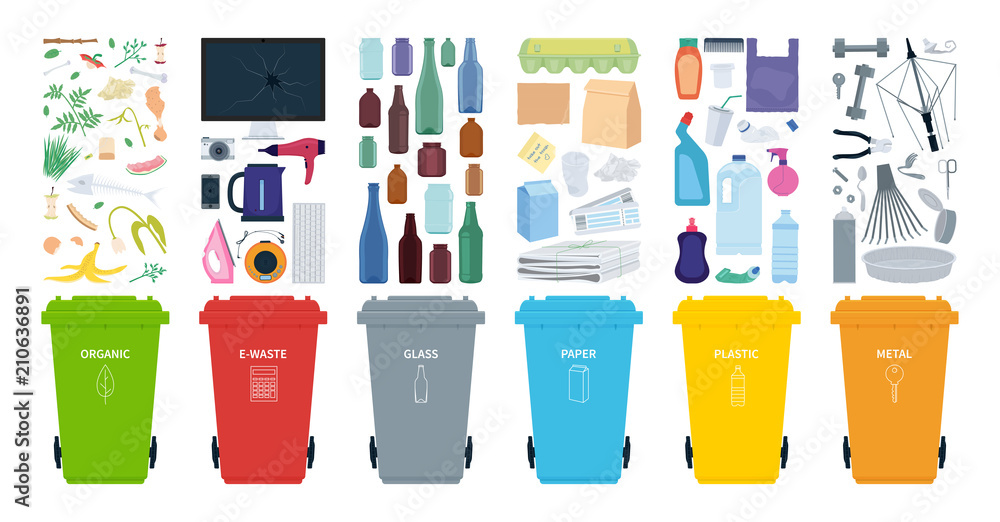 Fototapety, obrazy: Rubbish bins for recycling different types of waste. Sort plastic, organic, e-waste, metal, glass, paper. Vector illustration.