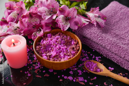 Tuinposter Spa Spa background-towel, orchid, and spoon ,petals in bowl, salt in spoon