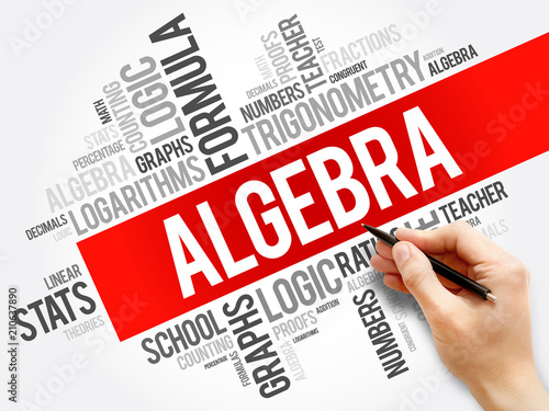 Algebra word cloud collage, education concept background Canvas Print