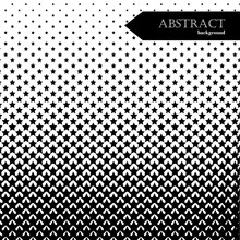 Square Abstract Background With Halftone Pattern In Black And White Colors. Gradient Texture Made Of Stars Shapes. Design Template Of Flyer, Banner, Cover, Poster. Vector Illustration