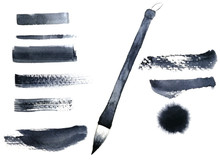 Watercolor Hand Drawn Chinese Brush   Set And Abstract Ink Black.isolated On White Background.