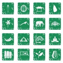 Sri Lanka Travel Icons Set In Grunge Style Green Isolated Vector Illustration