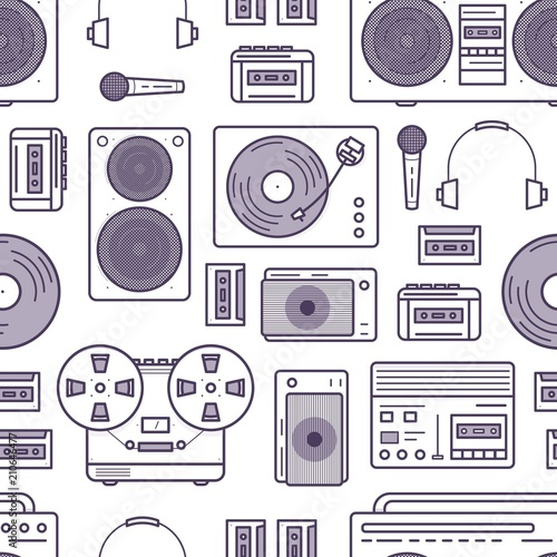 Seamless Pattern With Retro Music Devices Drawn With Contour