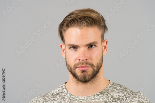 Handsome And Confident Man Beard Unshaven Well Groomed Looks Handsome And Cool Guy Bearded Attractive Cares About Appearance Man Bristle Serious Strict Face Black Background Close Up Buy This Stock Photo
