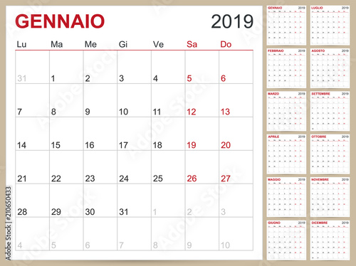 Italian Calendar 2019 Italian Planning Calendar 2019 Italian