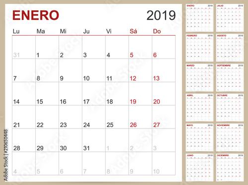 Spanish Calendar 2019 Spanish Planning Calendar 2019 Spanish