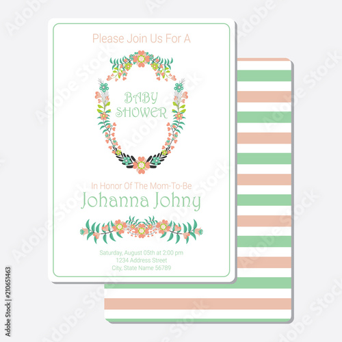 Baby Shower Invitation Card Vector Design Template With Tosca And Pink  Flowers Wreath