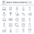 Makeup beauty care flat line icons. Cosmetics illustrations of lipstick, mascara, powder, eyeshadows, cushion foundation, nail polish, hair brush shampoo. Thin signs for make up store Editable Strokes